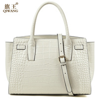 Qiwang Brand Luxury Elegant Top Handle Bags Women Beige Tote Handbags Trapeze 100% Genuine Leather White Summer Bag with Belt