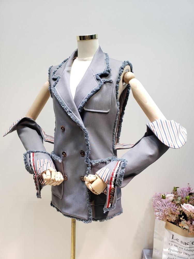 Printemps Mode Manteau Manches Long Pour Gilets De Double Gilet Getsring Femme Démontage Gray Irrégulière Femmes Nouveau Breasted 6xHxUCwq