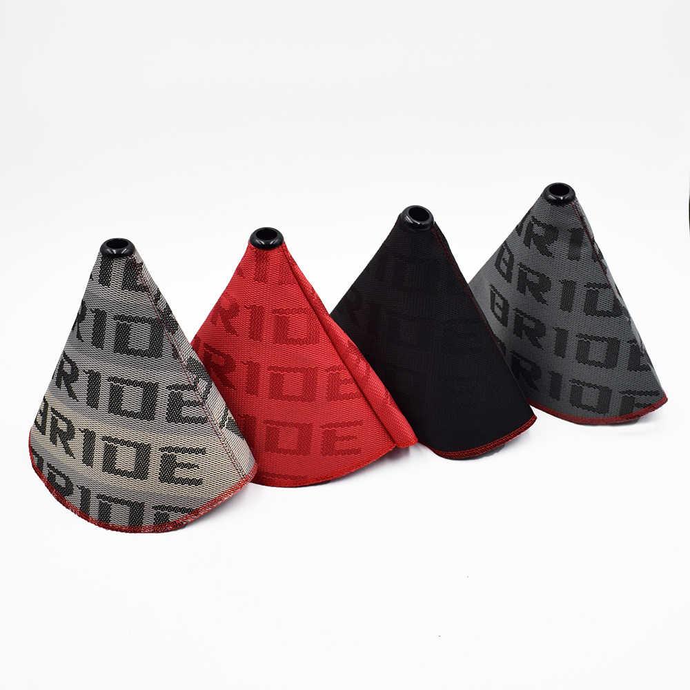 JDM Stil Gelin Tuval Vites Kolu Topuzu bot kılıfı Yarış Vites Topuzu Yaka Ile Evrensel Araba için Kırmızı Dikiş