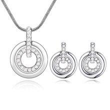 Ronda de mujeres aretes + collar cristal de Swarovski moda marca sistemas de la joyería de la boda de la joyería del partido