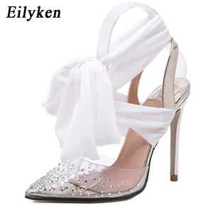 Image 3 - Eilyken New Women high heels Sexy Pumps Stiletto Pointed toe Party Ankle Strappy high heels Red Black Ladies Wedding shoes