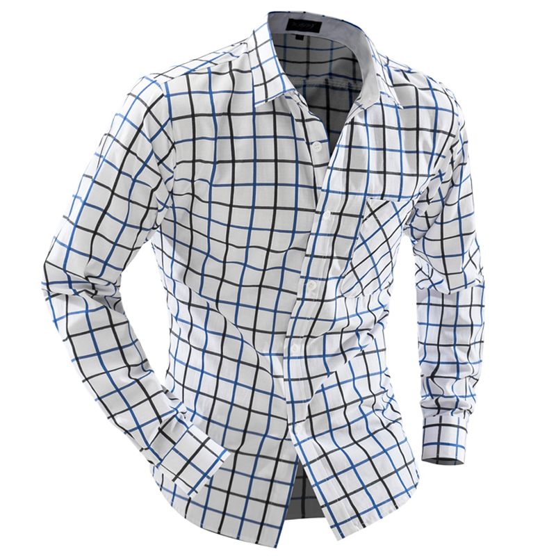 V2018 Fashion Brand Shirt Autusmn Hit Color Plaid Men Slim Fit Shirt Long Sleeve Casual Scial Mlale Shirt XXL Camisa Masuina