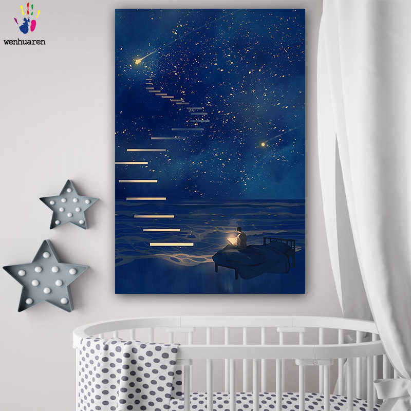 DIY colorings pictures by numbers with colors Dream of the ladder picture drawing painting by numbers framed