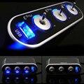 Высокое Качество Автомобиля 3 Way Автомобильного Прикуривателя Зарядное Гнездо Splitter Адаптер Питания USB Порт Разъем 12 В-24 В LED Выключатель Света