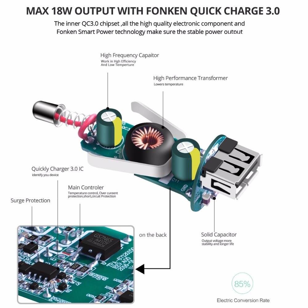 Fonken Car Charger Quick Charge 30 Mobile Phone Portable Electric Schematic Universal Intelligent Switching Fast For Samsung In Chargers From