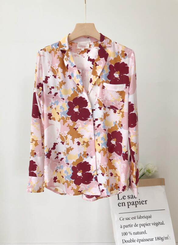 Woman Shirt Spring Summer Flower Print Silk Shirt-in Blouses & Shirts from Women's Clothing    2