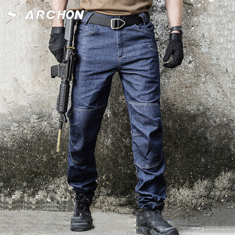 S.ARCHON Military Tactical Jeans Pants Men SWAT Army Combat Denim Pants Spring Summer Thin Loose Casual Motorcycle Male Trousers