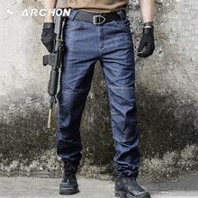 S ARCHON taktyczna wojskowa spodnie jeansowe męskie SWAT Army Combat spodnie dżinsowe wiosna lato cienkie luźne dorywczo motocyklowe męskie spodnie tanie tanio Mężczyźni Denim s archon Stałe Lekki Plaid REGULAR Kieszenie light Tactical Jeans Pants Moto Biker Zipper fly Pełnej długości