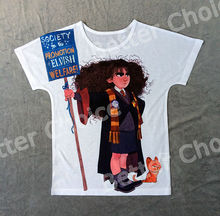 Track Ship+New Vintage Retro T-shirt Top Tee Childhood Harry Potter Angry Student Hermione Wizard with Yellow Cat 0465(Hong Kong)