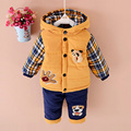 Baby Set 2016 Winter Boy or Kids Ultra Thick Super Warm Suit Boys Cartoon Fashion Lattice Pattern Coat+Pants (Two Piece Sets)