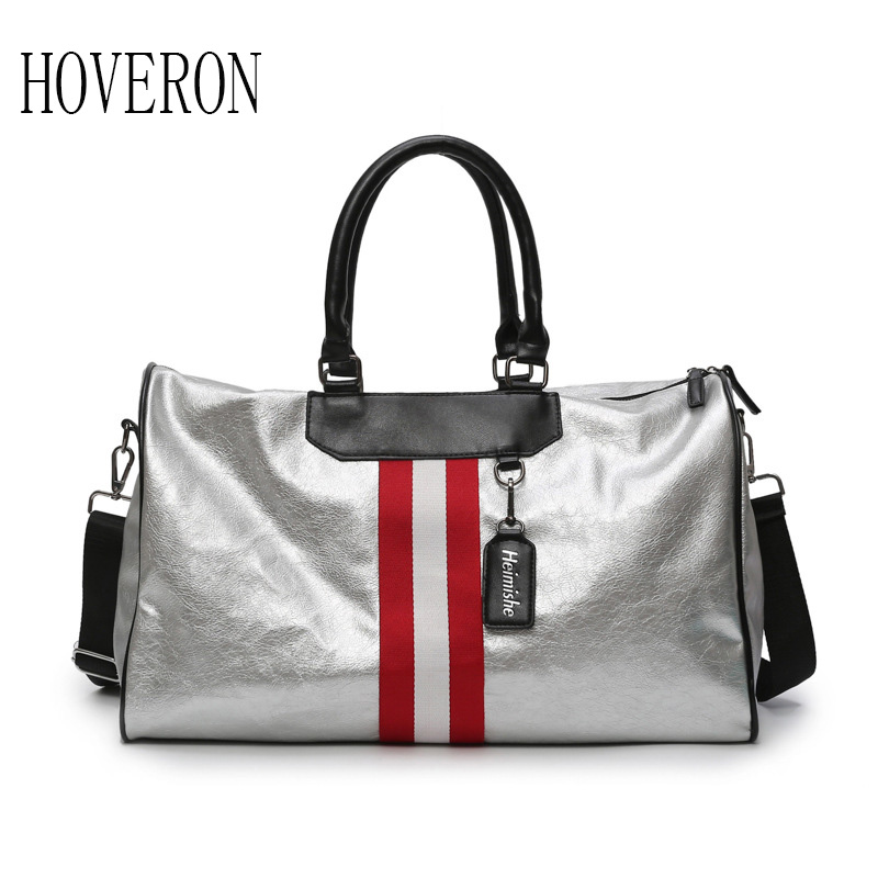 Silver Sports Bag Lady Luggage Bag in Travel Bags Woman handbag with Tag Duffel Gym Bag Leather Women Yoga Fitness sac de sport