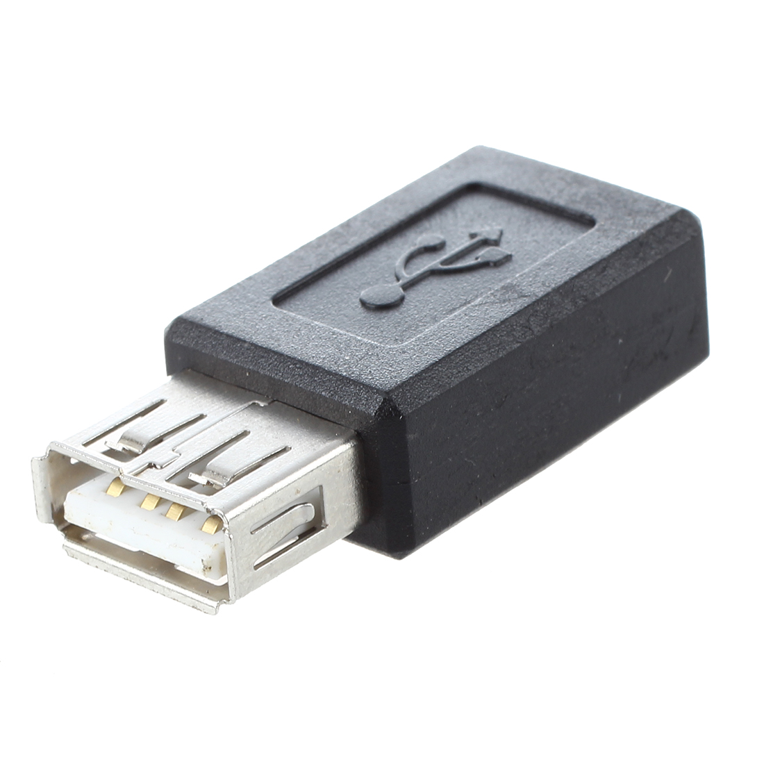 Black USB 2.0 Type A Female To Micro USB B Female Adapter Plug Converter