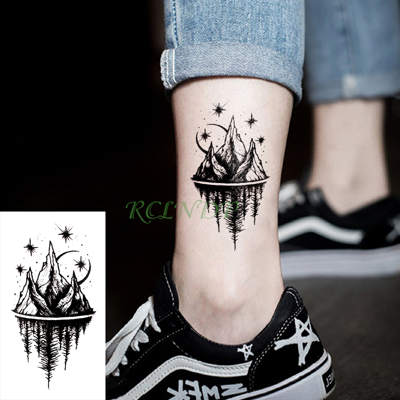 Waterproof Temporary Tattoo Stickers Moon Hill Forest Star Fake Tatto Flash Tatoo Tatouage Body Art Hand Foot For Girl Women Men(China)