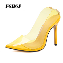 Ultra high heel sexy transparent color pointed heels PVC film club single shoe 35-40 yards leisure  shoes