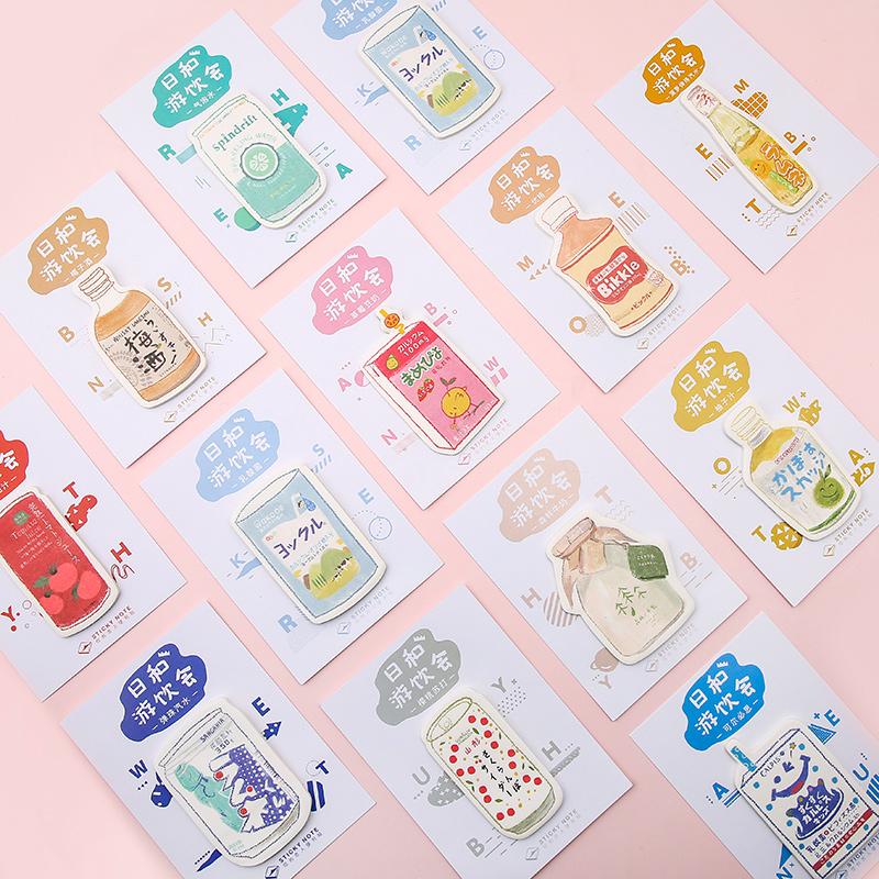 Drink Party Strawberry Milk Memo Pad N Times Sticky Notes Memo Notepad Office School Supplies Gift Japanese Stationery