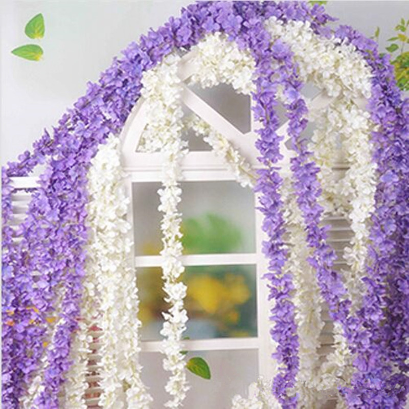 2mpcs upscale artificial silk flowers hydrangea wisteria garland 2mpcs upscale artificial silk flowers hydrangea wisteria garland for home hanging ornament wedding decoration supplies mightylinksfo