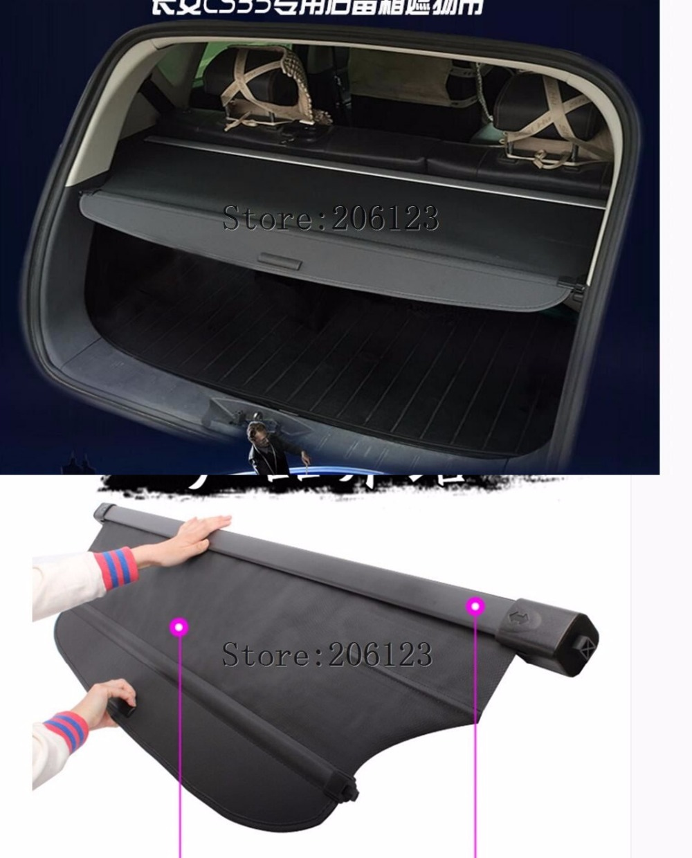 Black Rear Trunk Security Shield Cargo Cover Shade For For CHANGAN CS35 2012 2013 2014 кольцо flama filter adapter ring 58 72mm