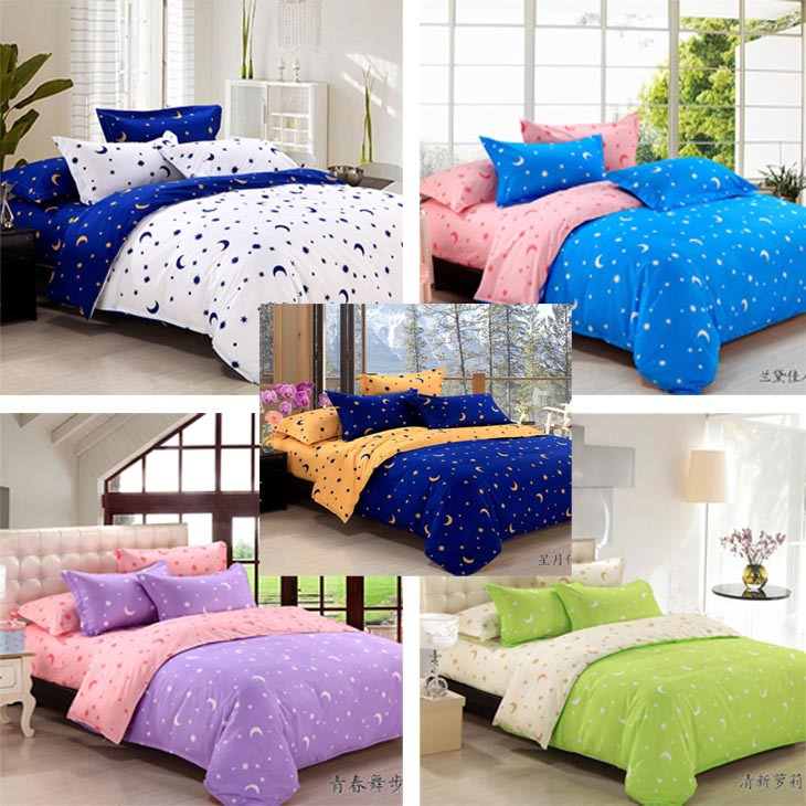 Free Shipping Stars And Moon Pattern Bed Set Bedding