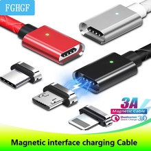 Three in One Magnetic Sucker Data Cable Type C Application Apple Android Woven Charging Magnetic Cable with Emitting Indicator