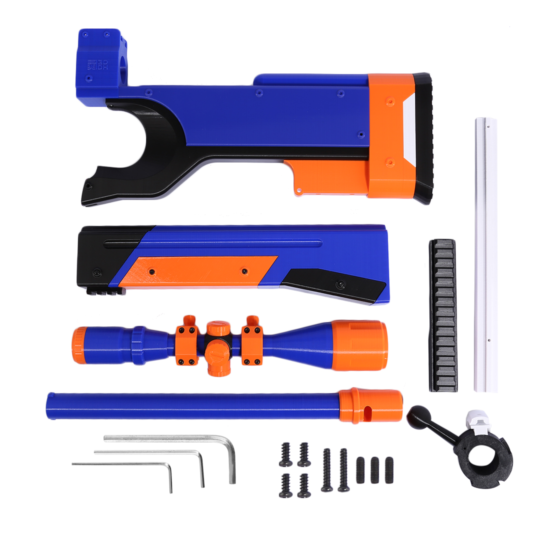 Kit de Modification d'apparence d'impression 3D pistolet jouet enfant tactique pour Nerf rétorsion blaster accessoires composant-bleu
