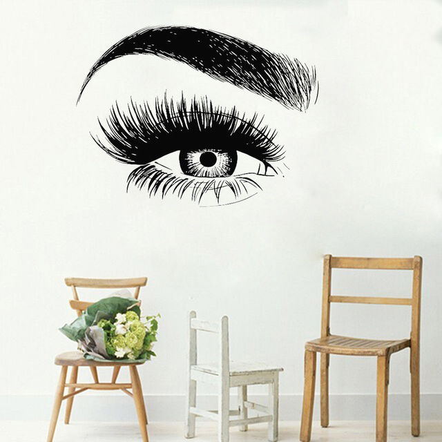 Eyelashes Wall Sticker Vinyl Eyebrows Beauty Salon Wall Decal Eye ...