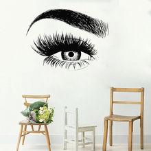 Eyelashes Wall Sticker Vinyl Eyebrows Beauty Salon Wall Decal Eye Make Up Wall Art Poster Home Bedroom Decor Wall Mural AY795