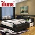 IFUNS роскошной спальне, мебель домашняя мягкая двуспальная двуспальная кровать размера кадра натуральная кожа хранения шезлонг татами в ночь USBcharge