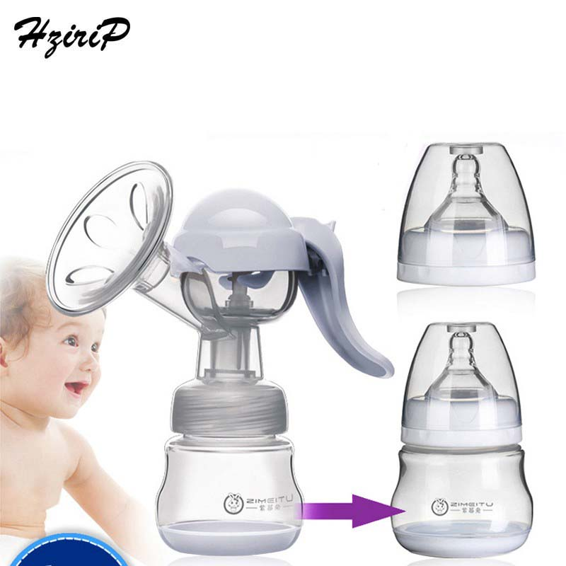 Manual Massaging Breast Pump Silica Gel BPA Free Big Suction Breast Milk With Milk Bottle Nipple Function Breast Pumps 2 Colors ...
