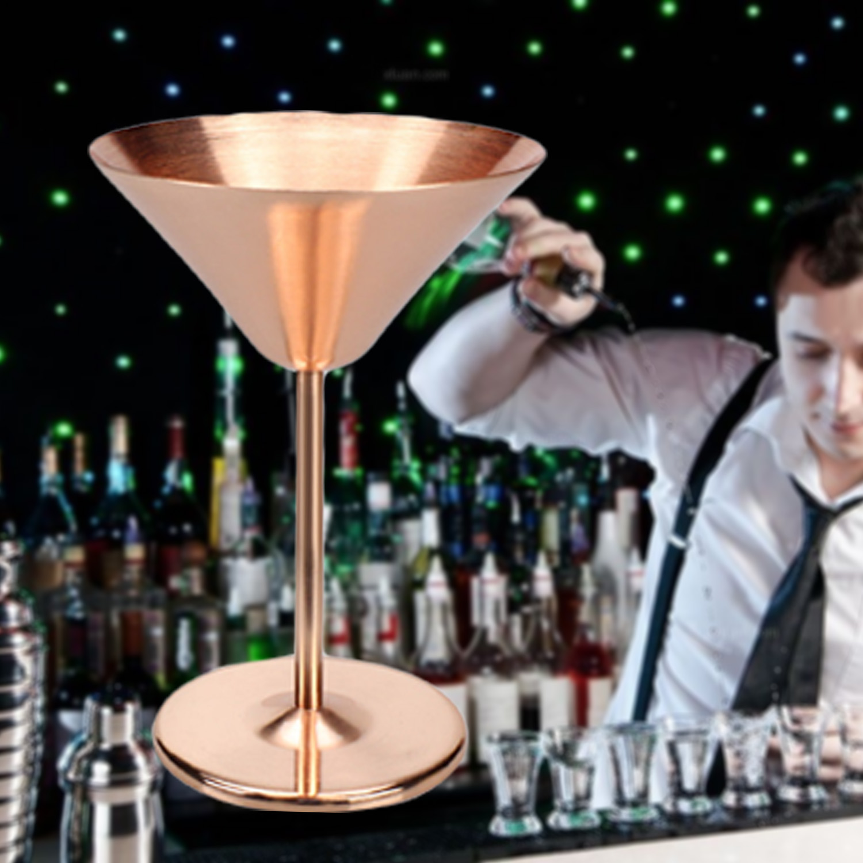 Behokic 200ML 1PCS 2 PCS Stainless Steel Martini Glasses Copper Plated Cocktail Champagne Goblet Artisanal Barware