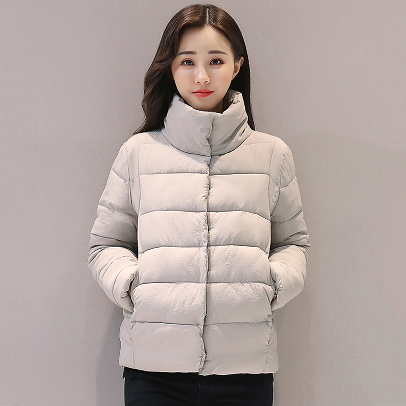 Stand collar 2017 short breast button women coat solid white black padded winter   basic     jacket   women brief casual casaco feminino