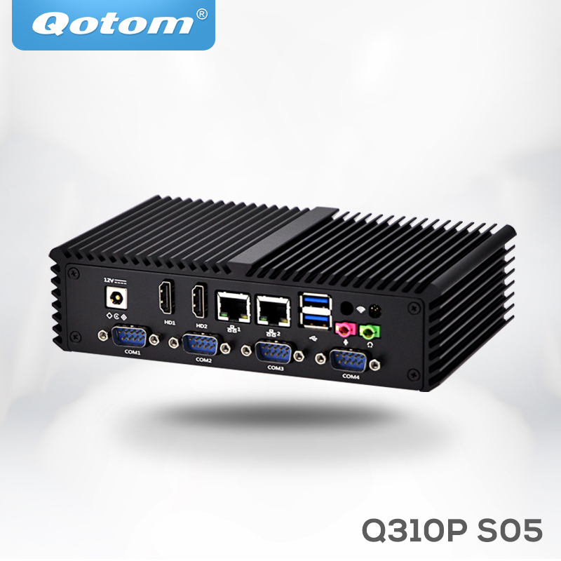 Qotom Mini PC Computer Celeron 3215U 3205U 6 Serial Ports,2 HD Video,Dual Core 2 Ethernet Lan Fanless Mini PC Server
