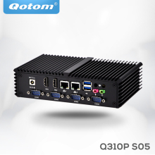 Qotom Mini PC Del Computer Celeron 3215U/i3-4010Y 6 porte Seriali, 2 Video HD, dual Core 2 ethernet lan Fanless Mini PC Q305P Q330PY