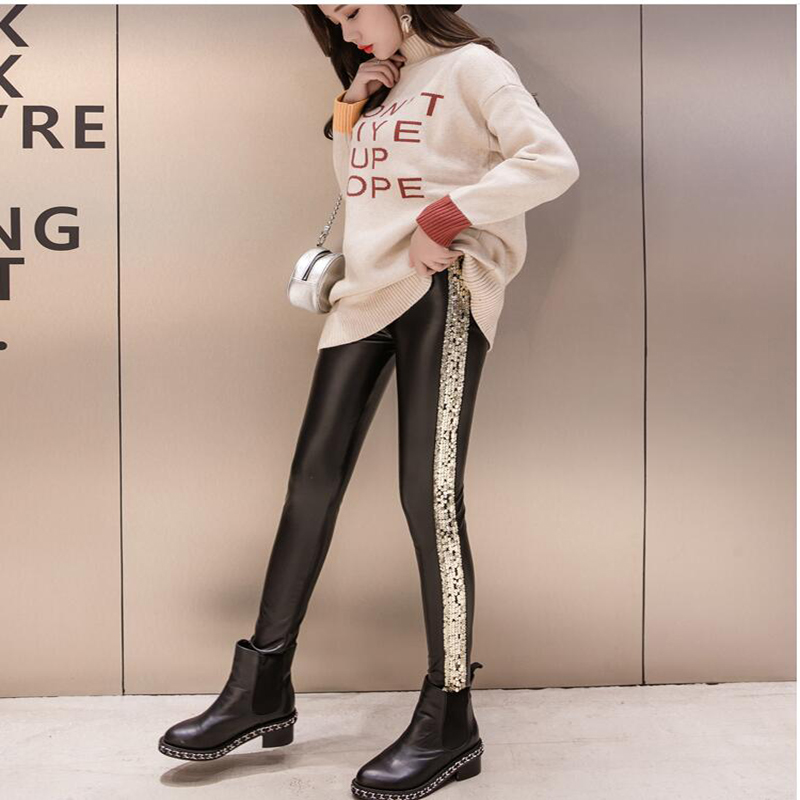 bdd272c1430 Shikoroleva Ladies Leggings Side Glitter Sequins PU Leather Pants Female  High Waist Stretch Jeggings Pants 2XL S Gold Silver-in Leggings from Women s  ...
