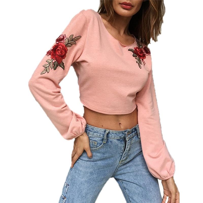 jinggton 2017 Women Fansion Casual Bowknot Leak Back Bandage Blouse Tops Embroidering Hoodie Sweatshirt Dropshipping