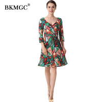 Autumn Women Dress Fitting Floral Print Velvet Dress Green Sexy Three Quarter Sleeve Knee Length Elegant