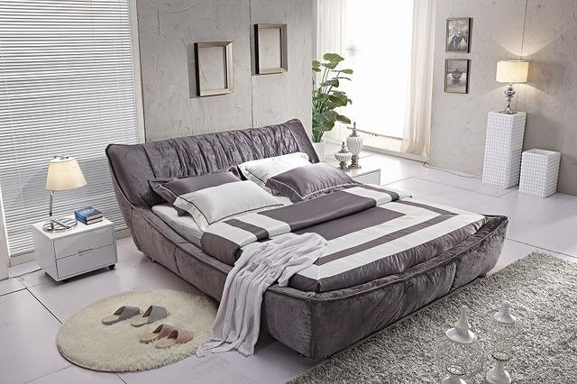 Marrón de terciopelo de la colmena moderna tela suave cama muebles de dormitorio moderno de China