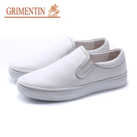 GRIMENTIN Fashion Designer Men Casual Shoes Genuine Leather Black White Men Loafers UK Style Luxury Male