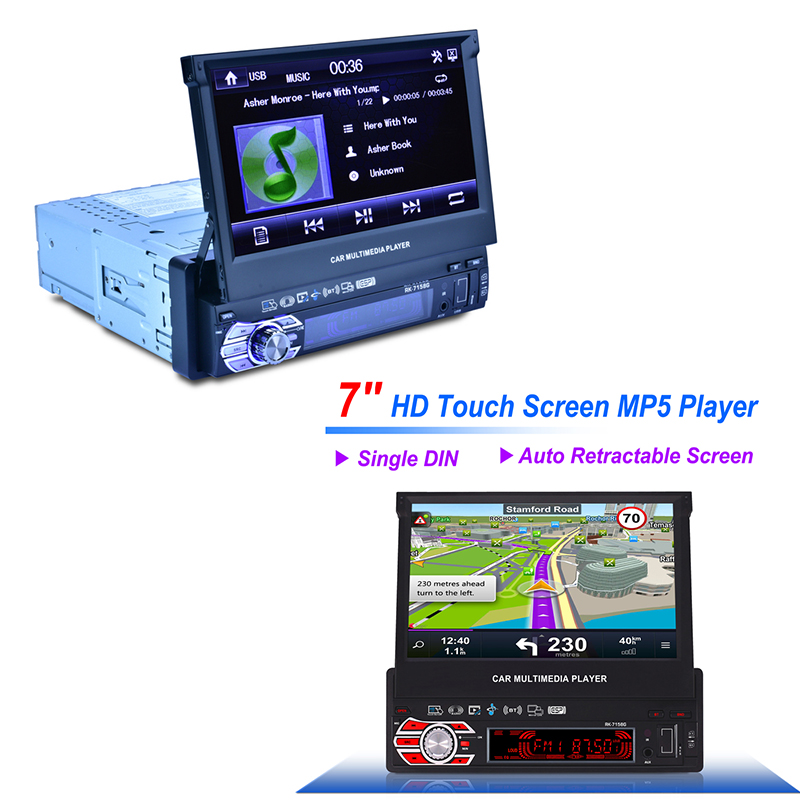Universal 7158G Car GPS Navigation with Map One Din Multimedia Player 7 colors Radio 7 inch