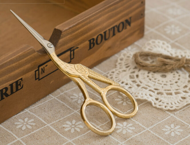 High Quality (Golden) Vintage Scissors Heron Shaped Utility Knife Scissors For DIY Home & Office & School Cutting Supplies