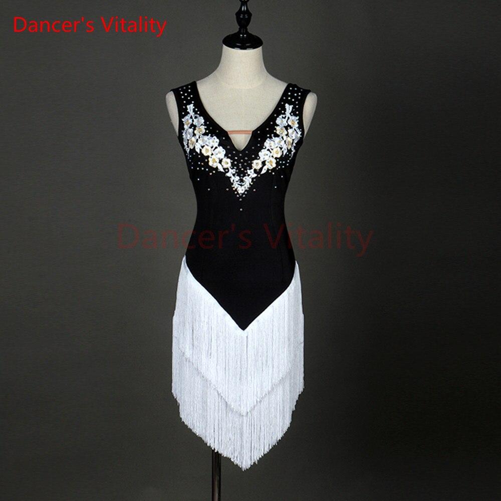 New Latin Dance Skirt Women High Quality Custom Made Size Classic Stage Tassel Latin Dancing Costume Adult Latin Dresses