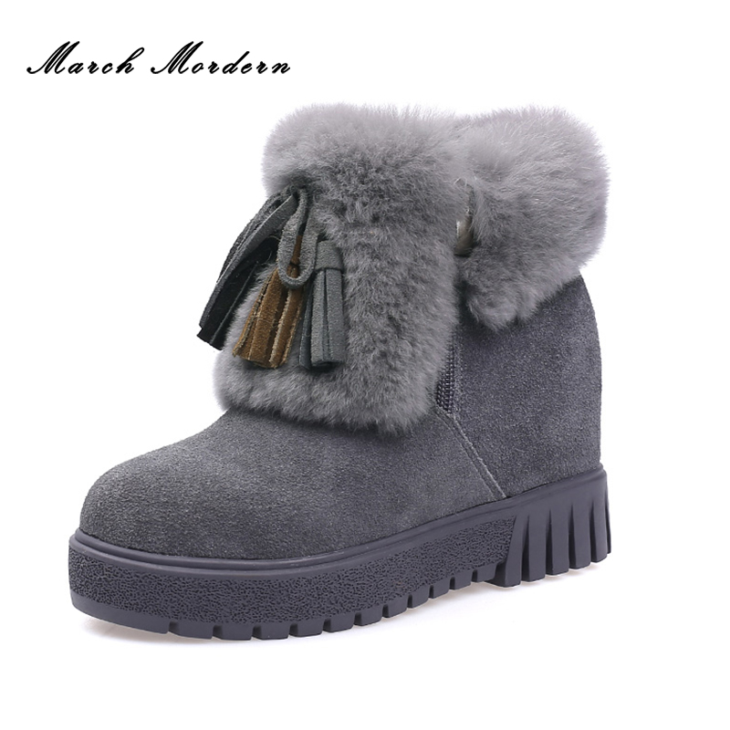 March Mordern Women 100% Genuine Leather Winter Boots Snow Ankle Boots Female Warm Winter Shoes Woman Round Toe Botas Mujer