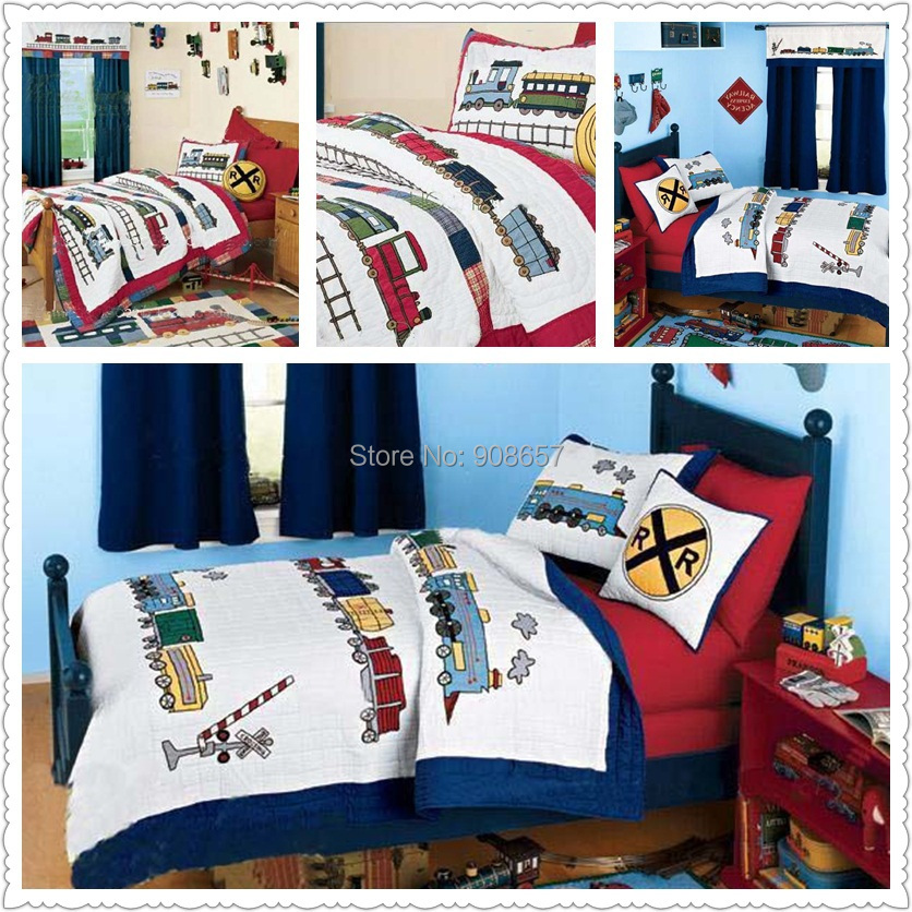 Hand made red blue train character bedding kids boys gift quilted quilt  cover 100  cotton Twin Full queen size with pillow sham. Online Get Cheap Train Quilt Set  Aliexpress com   Alibaba Group