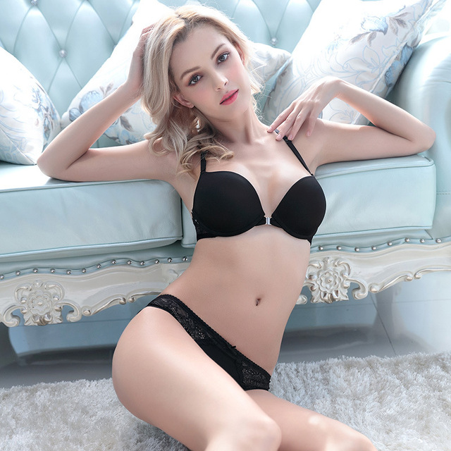 Women Bra Set Top Quality Front Closure Sexy Lace Bra Racer Back Push Up with Briefs Lingerie Conjuntos Intimates