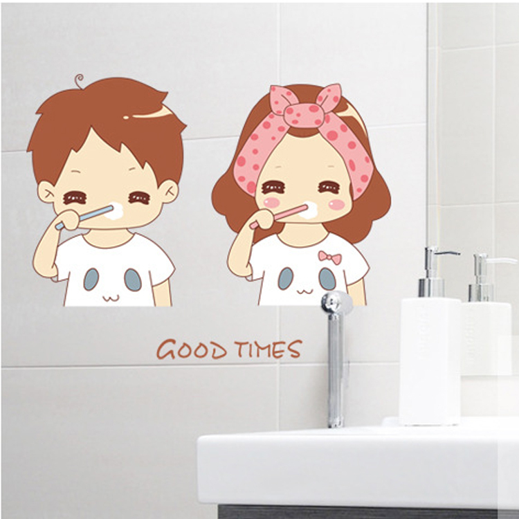 1 set 12*18 Inch Removable PVC Decals Good Times Tooth Brushing Bathroom Tile Decorative Waterproof Wall Stikcer