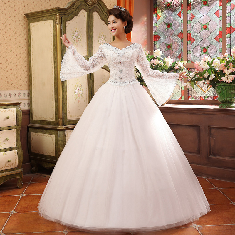 Aliexpress Com Buy Elegant Flare Sleeve Wedding Dress: 2014 Long Sleeve Wedding Dress Winter Wedding Dress New