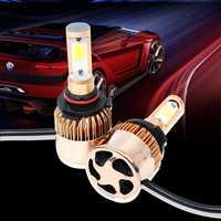 S2 9005 Car LED Headlight Bulbs 6500K 72W 8000LM COB LED Headlamp Fog Light Gold