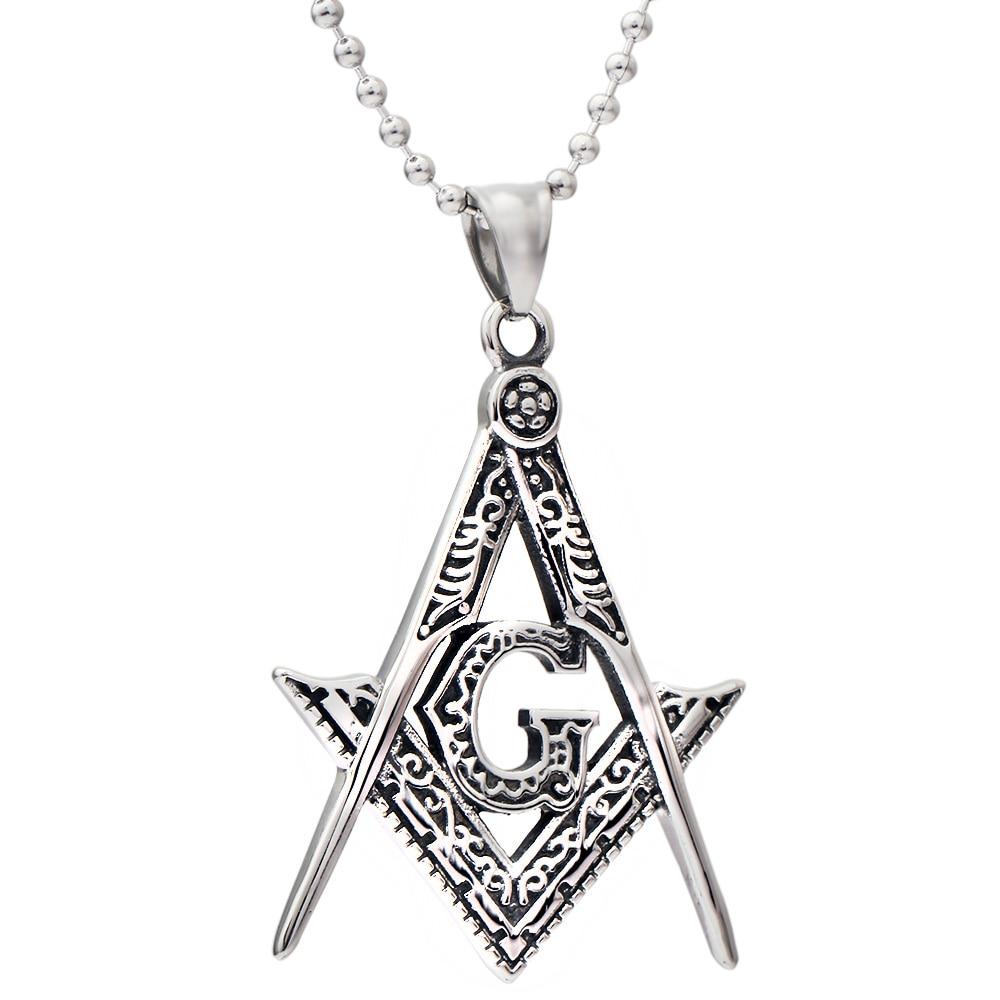Men's Silver Free Mason Pendant 316L Stainless Steel Freemason Masonic Pendant With Necklace no 7 stylish 316l stainless steel hand skeleton pendant necklace black silver