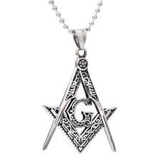 Men's Free Mason Pendant 316L Stainless Steel Freemason Masonic Pendant With Necklace