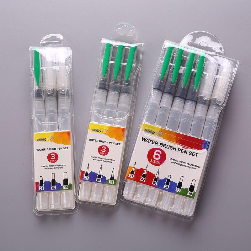 1 Set 6 Pcs Plastic Handle Art Supplies Nylon Hair Painting Pen Office Stationery Ink Pens Pilot Water Brush Drawing Painting