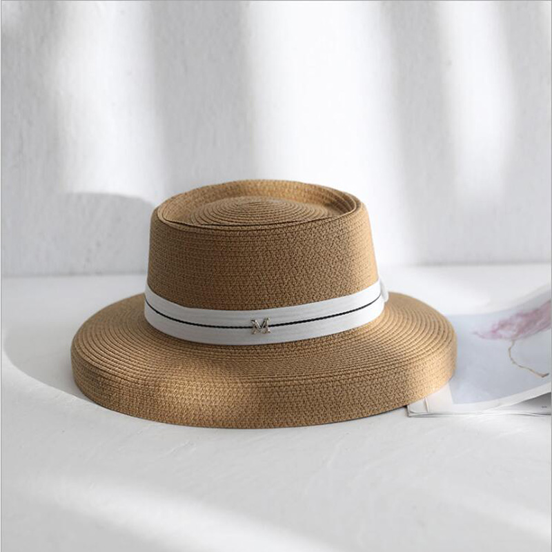 Summer New M Letter Retro Ribbon Braided Flat Head Straw Hat Lady Hepburn Wide-brim Sun Hat British Style Sunscreen Beach Hat